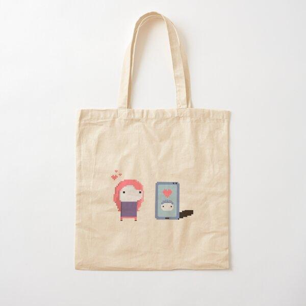 Long Distance Love - Pixel Art Cotton Tote Bag