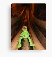 Frog Kermit Slip Mine Salt Mine Canvas Print
