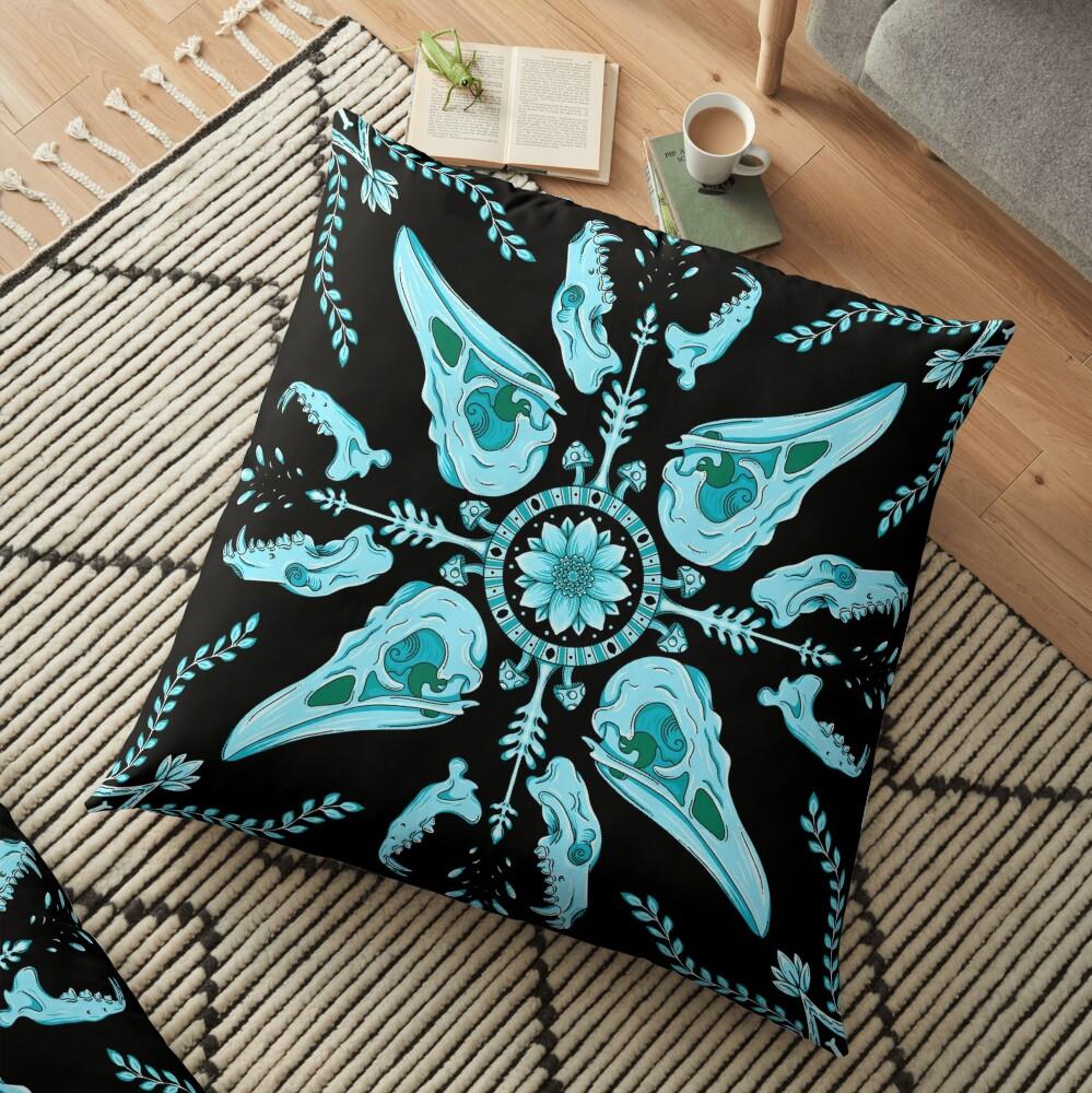 Designer Bird Skull - Blue Floor Pillow
