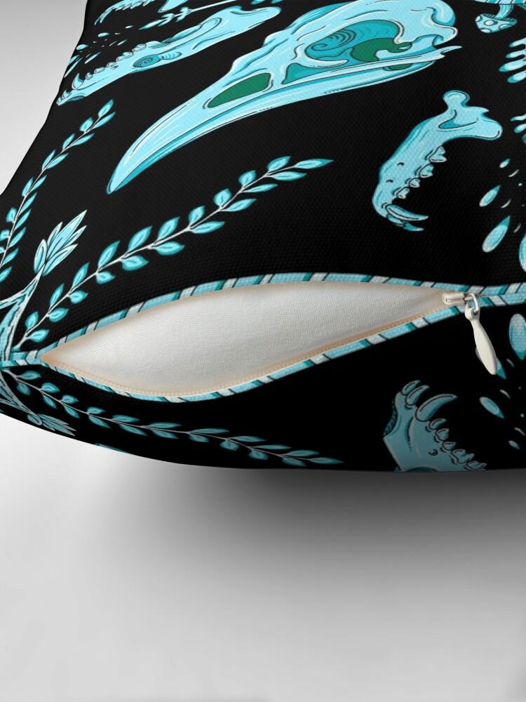 Alternate view of Designer Bird Skull - Blue Floor Pillow
