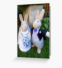 Knitted Bride and Groom Rabbits Greeting Card