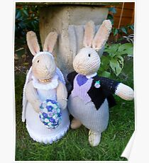 Knitted Bride and Groom Rabbits Poster