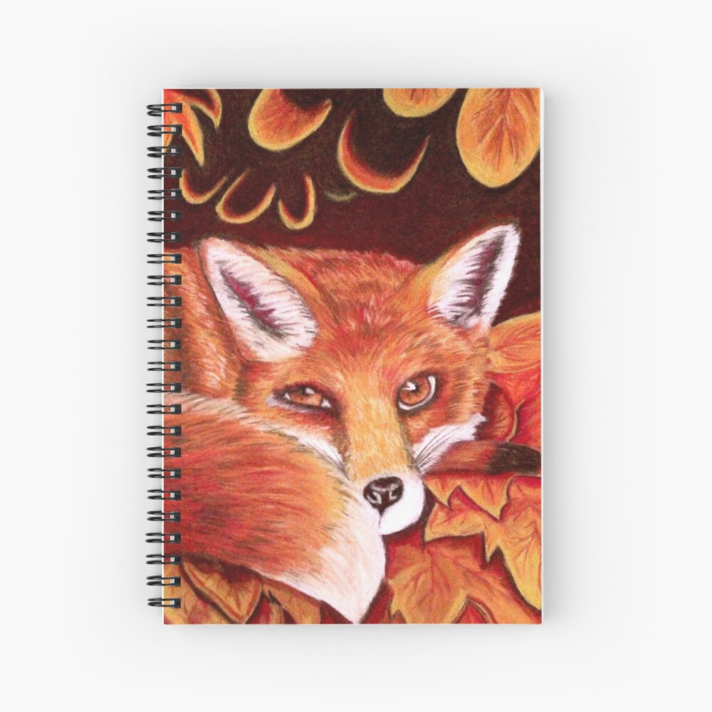 Sleepy Fox print - spiral notebook on Red Bubble