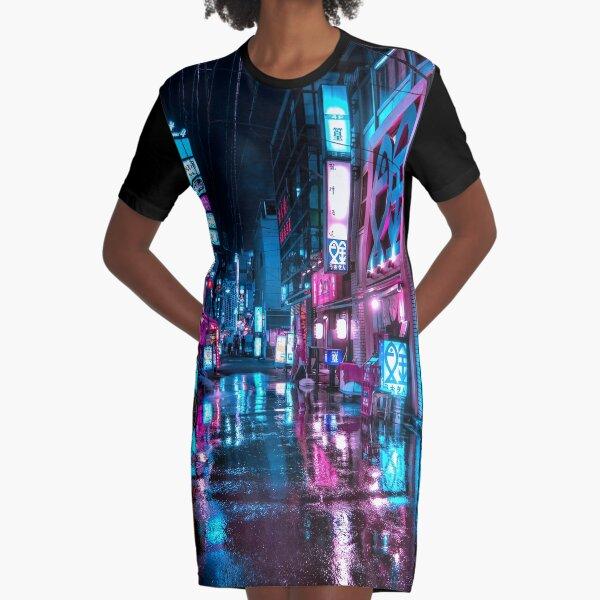 Tokyo at Night - Shimbashi Graphic T-Shirt Dress