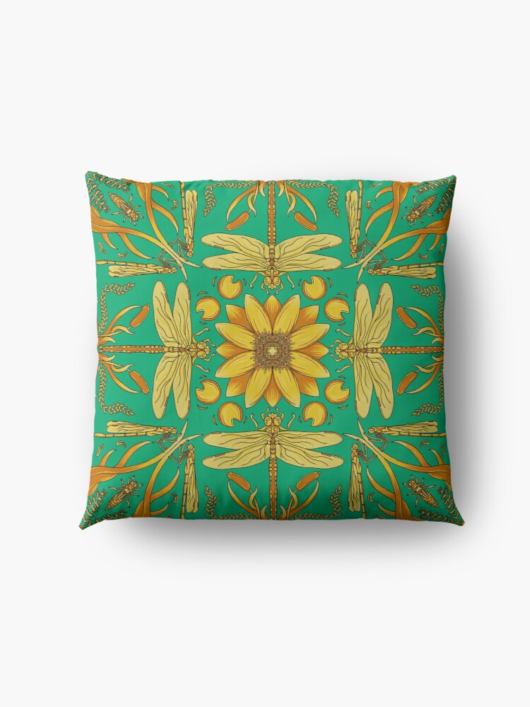 Alternate view of Designer Dragonfly - Blue/Gold Floor Pillow