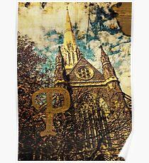 Grungy Melbourne Australia Alphabet Letter P St Patrick's Cathedral Poster