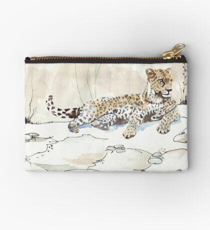 African Leopard {Panthera pardus} 'Luiperd' Zipper Pouch