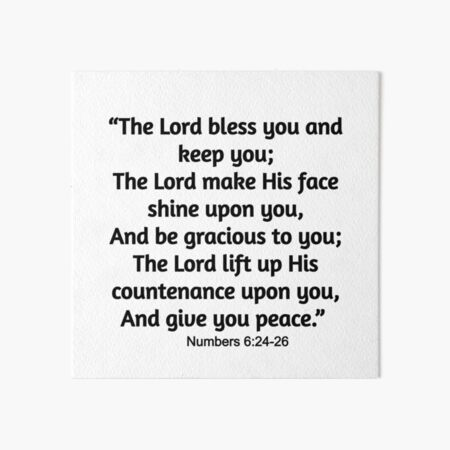 Numbers 6:24-26 Bible Verse Christian Gift / Numbers 6:24-26 Shirt  Christian Jesus Christ Religion Religious Faith Bible Gift Posters and Art Prints Art Board Print