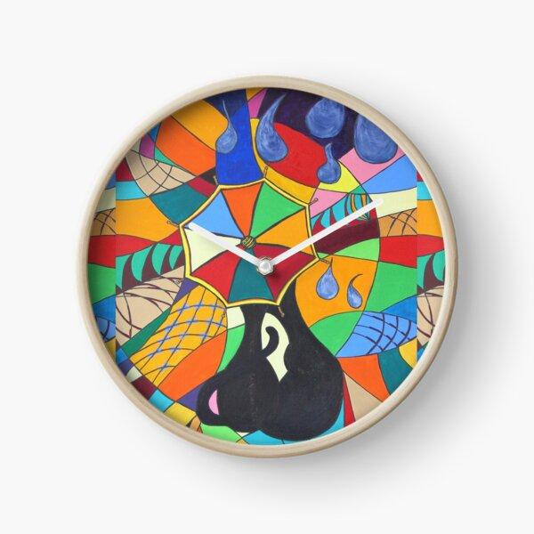 Umbrella Kitten Clock