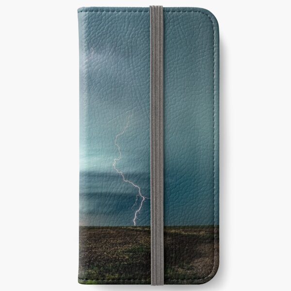 A Memorable Evening - Supercell Storm and Lightning at Sunset in Kansas iPhone Wallet