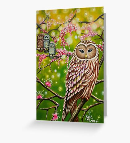Garden of Owls - greeting card Greeting Card