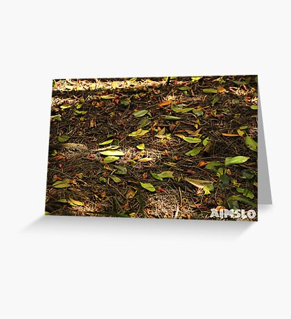 Green Leaves on the Ground Greeting Card