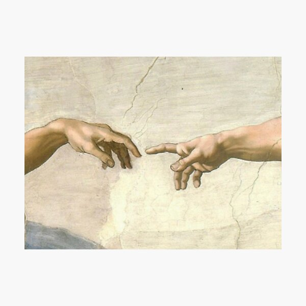 the creation of adam zoomed in mask Photographic Print