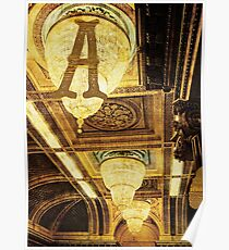 Grungy Melbourne Australia Alphabet Letter A Assembly Chamber Parliament Building Poster