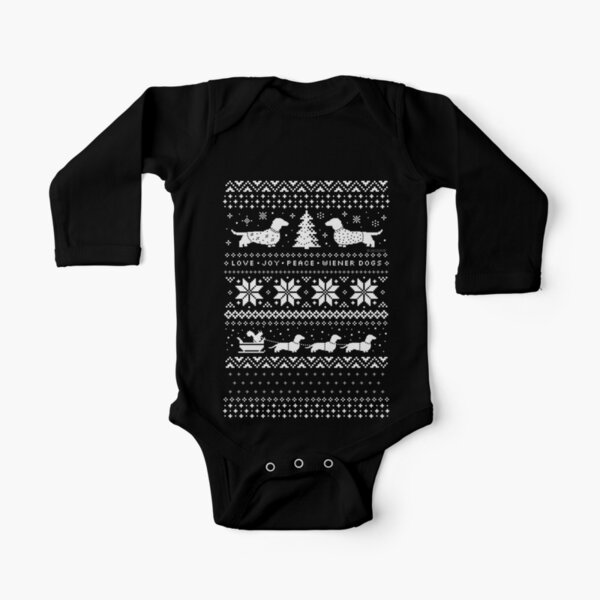 Dachshunds Christmas Sweater Pattern Long Sleeve Baby One-Piece