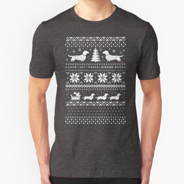 Dachshunds Christmas Sweater Pattern Slim Fit T-Shirt