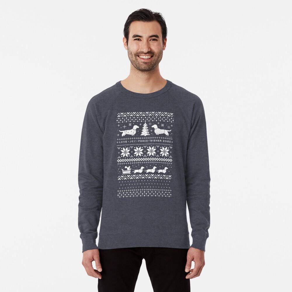Dachshunds Christmas Sweater Pattern Lightweight Sweatshirt