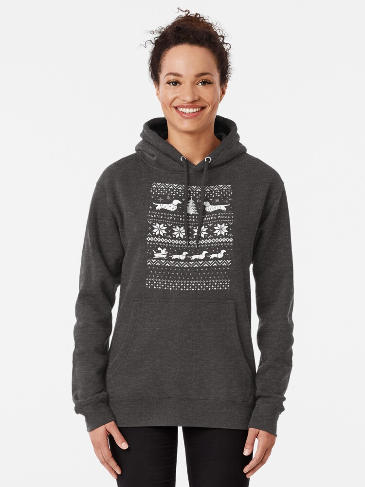 Alternate view of Dachshunds Christmas Sweater Pattern Pullover Hoodie