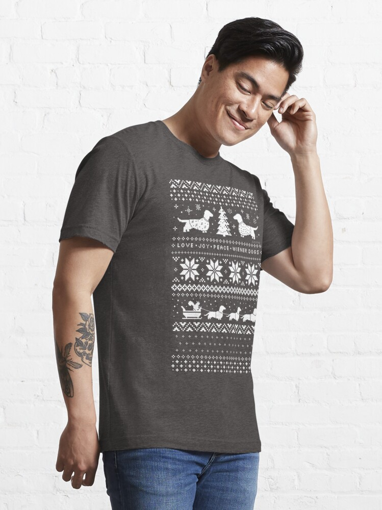 Alternate view of Dachshunds Christmas Sweater Pattern Essential T-Shirt