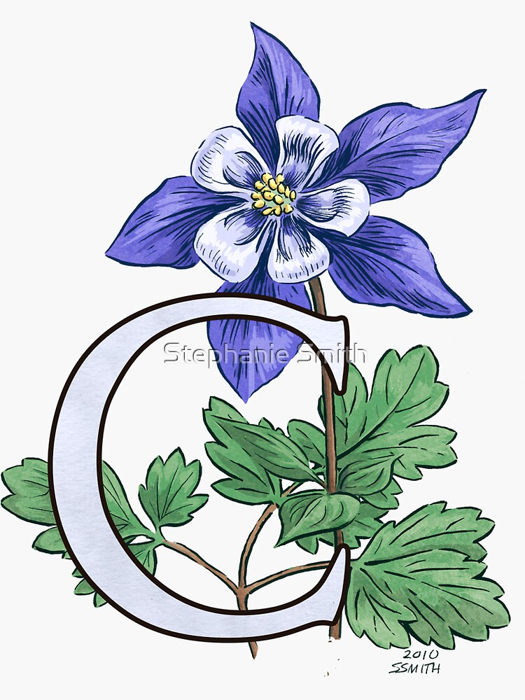 C is for Columbine Flower Monogram Floating by stephsmith