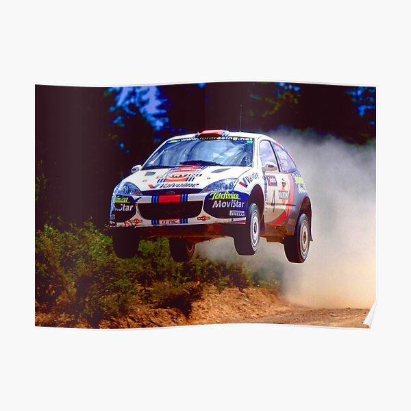 Colin McRae saltando en su auto Ford Focus World Rally Póster