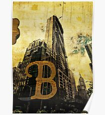 Grungy Melbourne Australia Alphabet Letter B Central Business District Poster