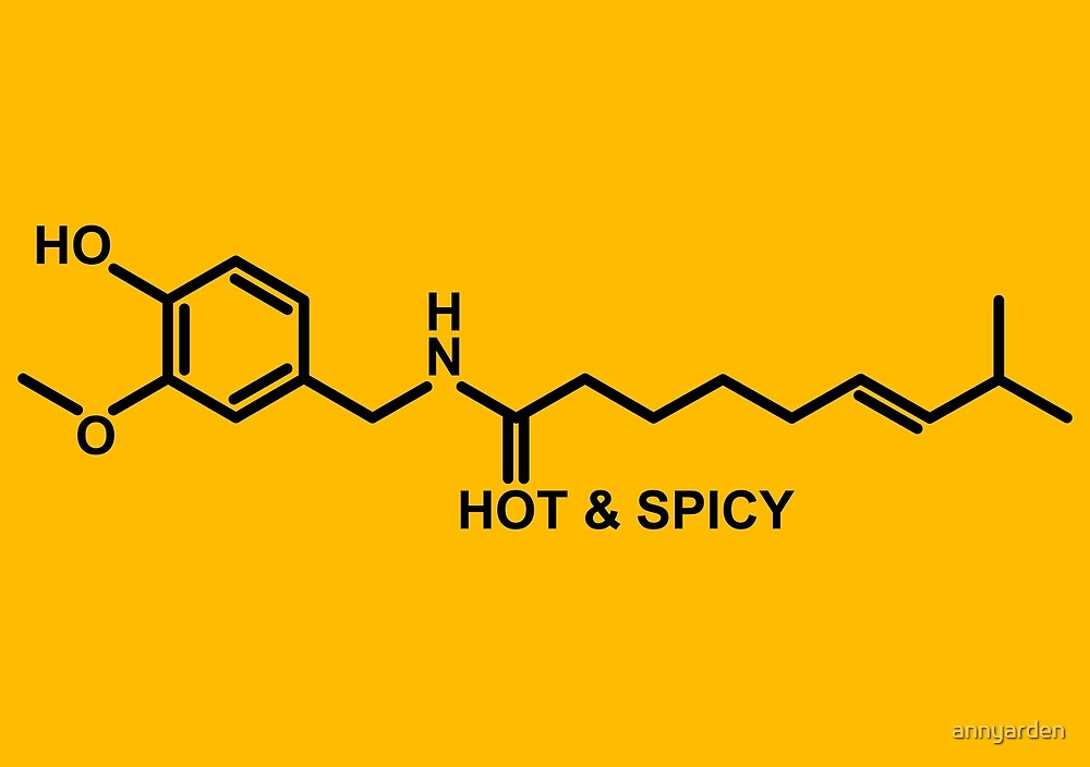 Hot and Spicy: Capsaicin Molecule by Anny Arden