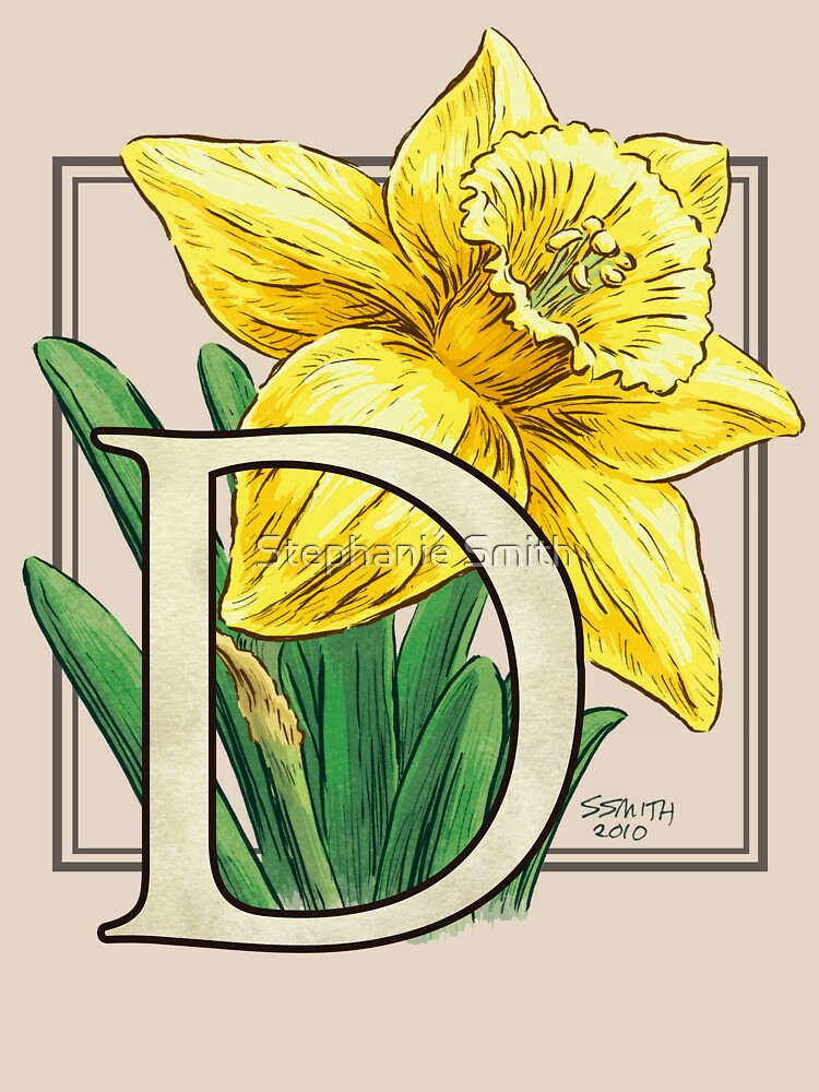 D is for Daffodil Flower Monogram by stephsmith