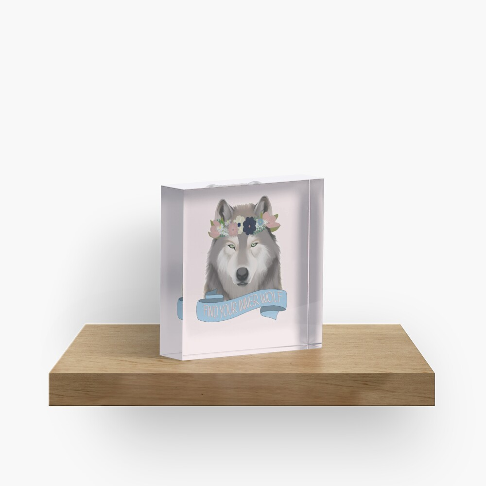 Floral Wolf // Find Your Inner Wolf Acrylic Block