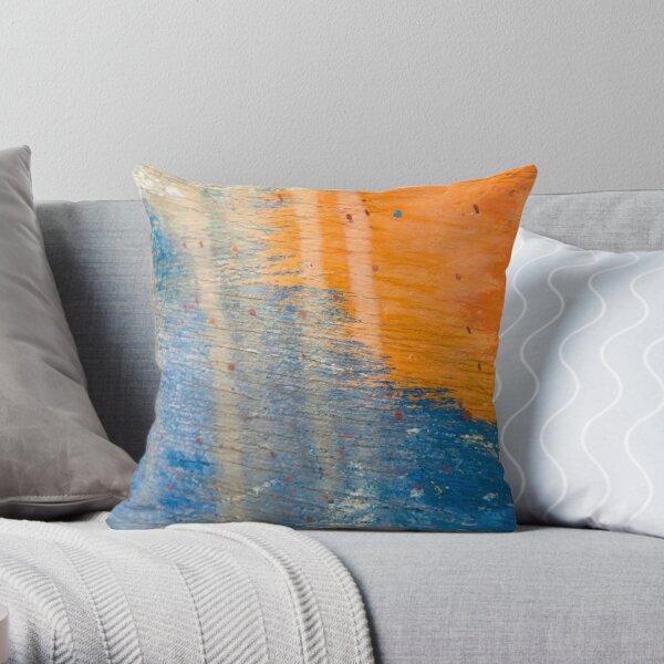 Blue and Orange Wood Throw Pillow