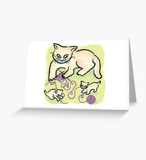 Mama Cat Knitting Greeting Card