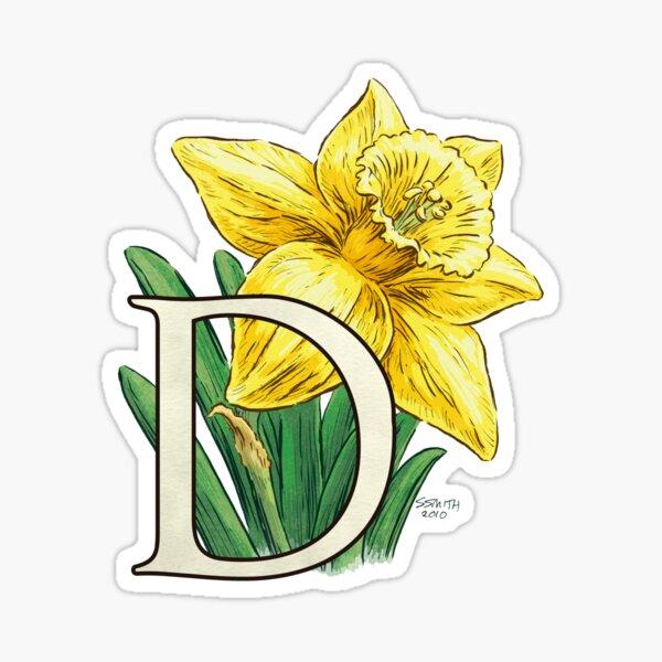 D is for Daffodil Flower Monogram Floating Sticker