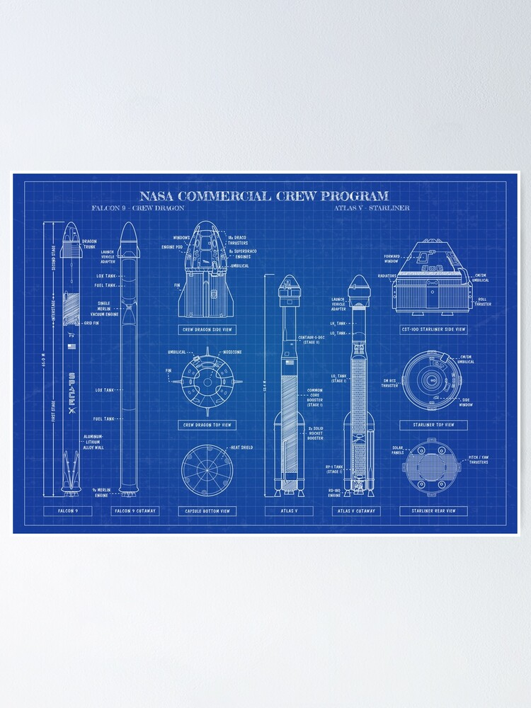 Alternate view of Crew Dragon & CST-100 STARLINER (Blueprint-English) Poster