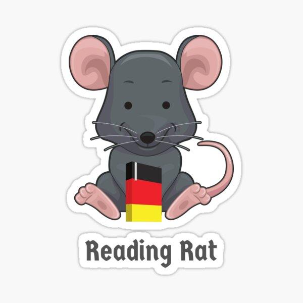 Leseratte Bücherwurm Leseratte Deutsches Buch Wortspiel Sticker