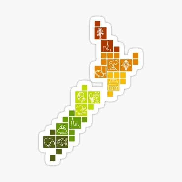 New Zealand Fun Map Sticker