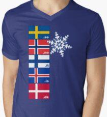 Nordic Cross Flags Mens V-Neck T-Shirt