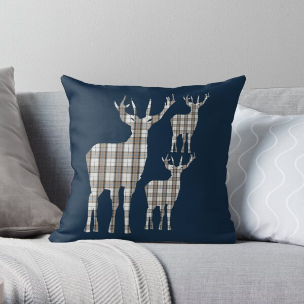Tartan Highland Stags Scottish Deer Plaid Pattern Throw Pillow