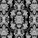 Back & White Vintage Floral Baroque Design by artonwear