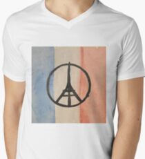 Paris Peace Symbol Eiffel Tower French Tricolor Men's V-Neck T-Shirt