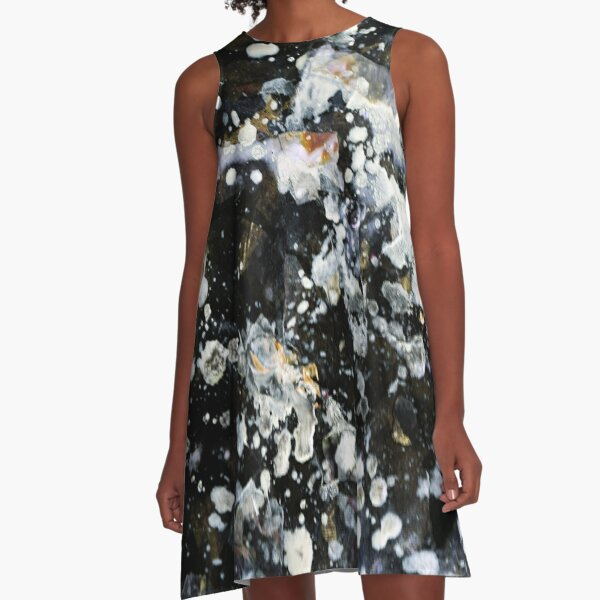 Silver Galaxy Abstract Art  A-Line Dress
