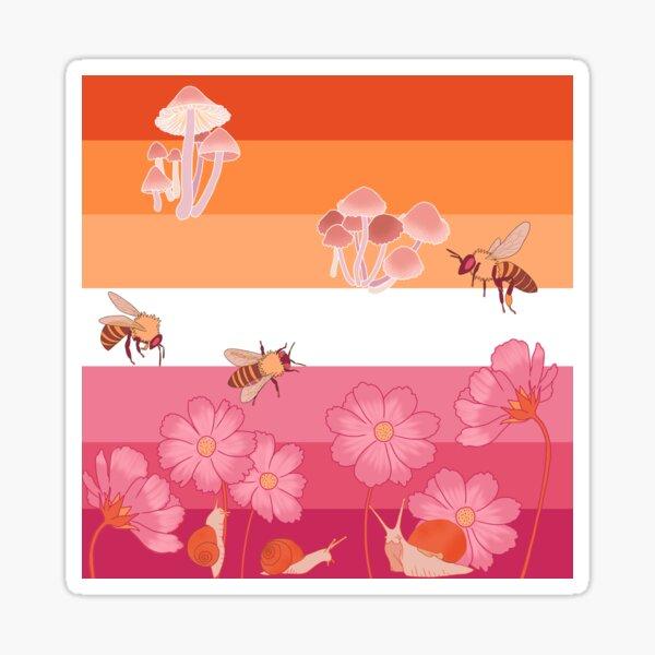 Cottagecore Lesbian Pride Flag Sticker