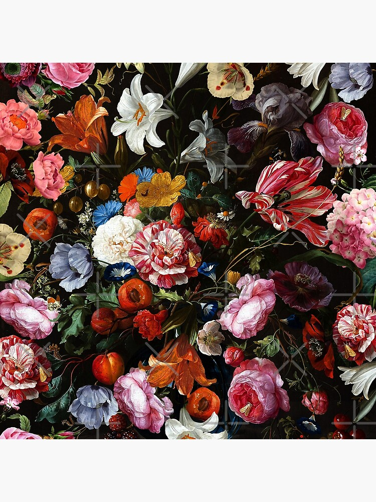 Dutch Botanical Flowers Midnight Garden by UtArt