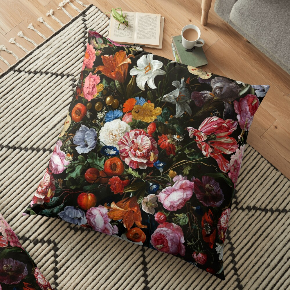 Dutch Botanical Flowers Midnight Garden Floor Pillow