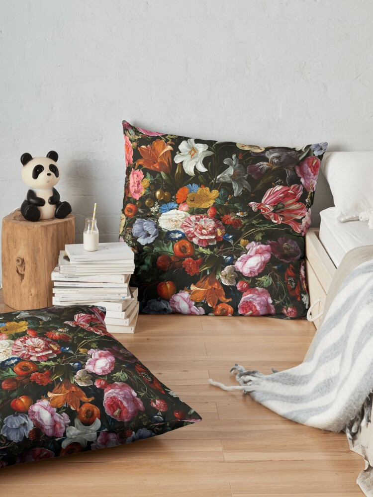 Alternate view of Dutch Botanical Flowers Midnight Garden Floor Pillow
