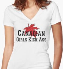 Canada Canadian Girls Kick Ass Women's T-Shirt Women's Fitted V-Neck T-Shirt