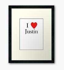 i love justin heart Framed Print
