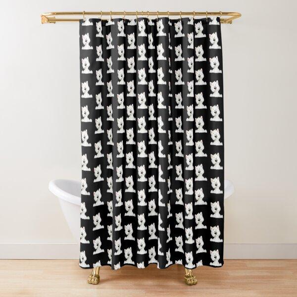 Westie highland white terrier pattern Shower Curtain
