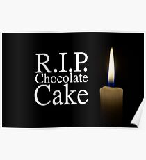 candle and rip chocolate cake Poster