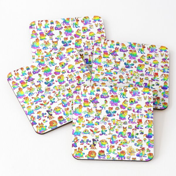 Rainbow Neopets Collage Coasters (Set of 4)