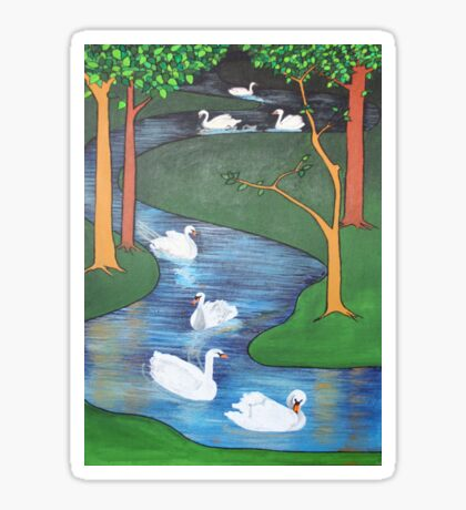 A Flock of Seven Swans-A-Swimming ..... Sticker